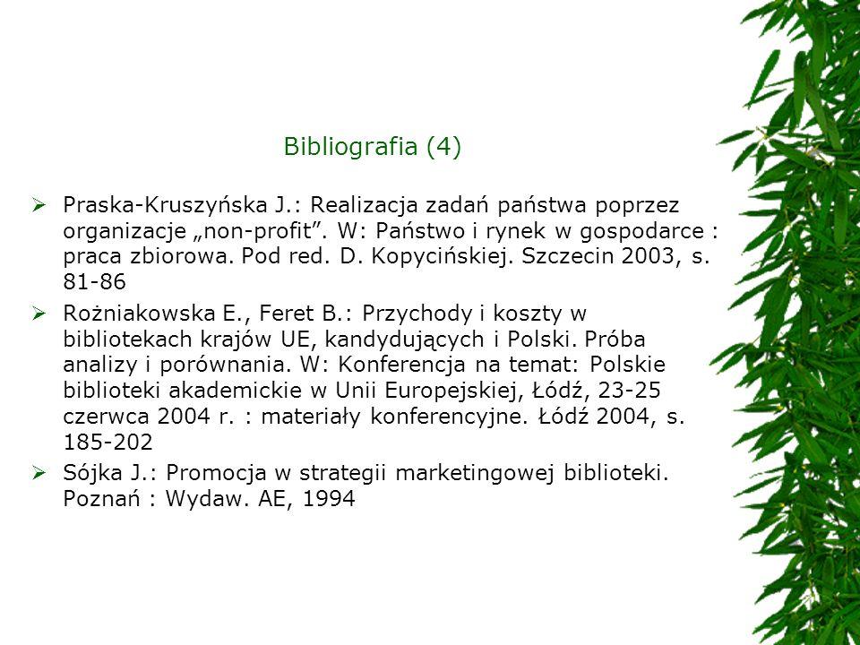 Bibliografia (4) Praska-Kruszyńska J.: Realizacja zadań państwa poprzez organizacje non-profit. W: Państwo i rynek w gospodarce : praca zbiorowa. Pod
