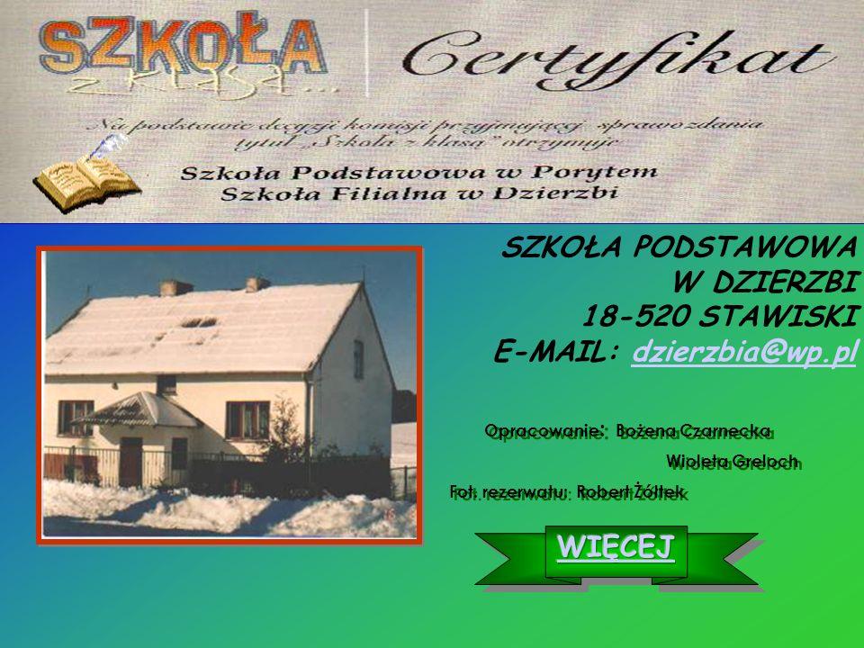 SZKOŁA PODSTAWOWA W DZIERZBI 18-520 STAWISKI E-MAIL: dzierzbia@wp.pldzierzbia@wp.pl Opracowanie : Bożena Czarnecka Wioleta Greloch Fot.