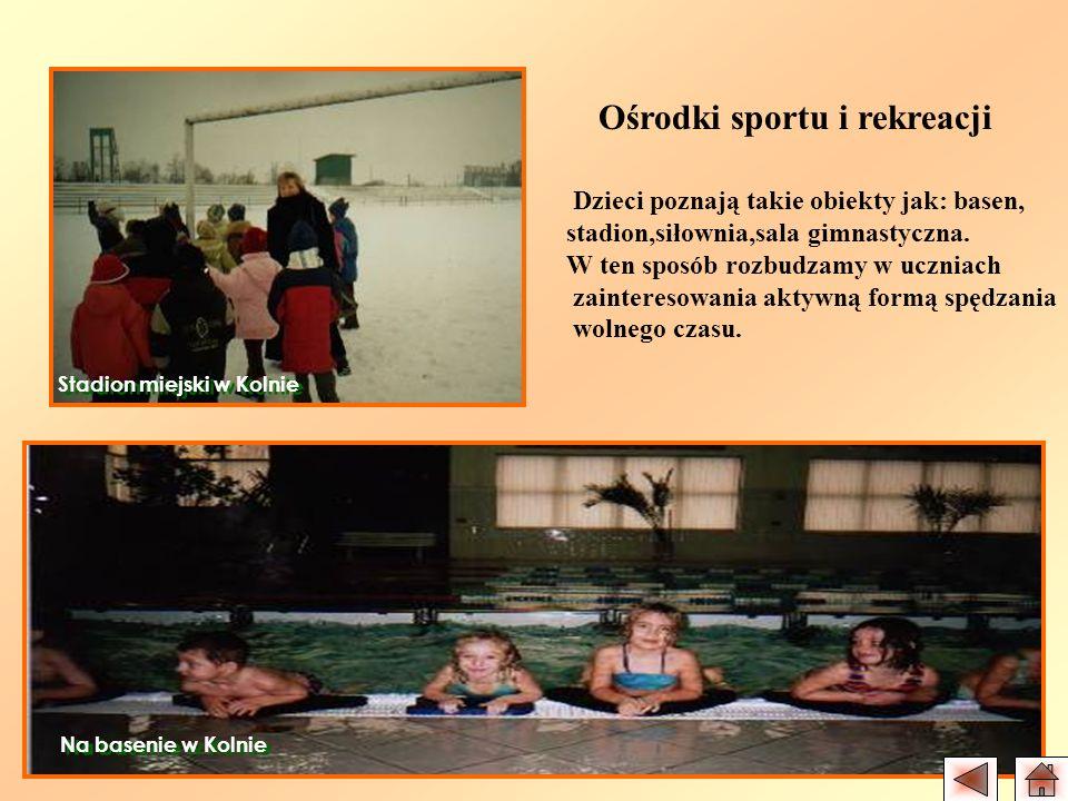 Ośrodki sportu i rekreacji Dzieci poznają takie obiekty jak: basen, stadion,siłownia,sala gimnastyczna. W ten sposób rozbudzamy w uczniach zainteresow