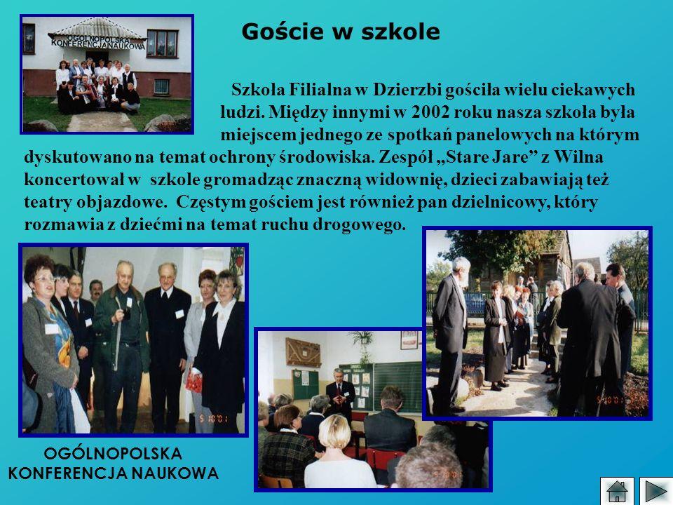 Goście w szkole Szkoła Filialna w Dzierzbi gościła wielu ciekawych ludzi. Między innymi w 2002 roku nasza szkoła była miejscem jednego ze spotkań pane