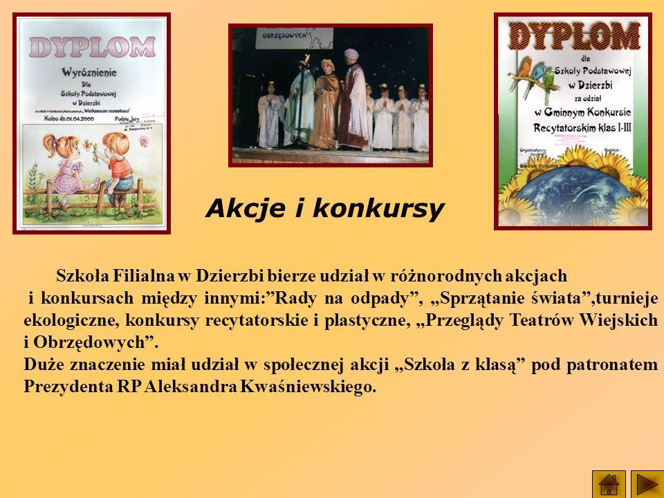 Akcje i konkursy Szkoła Filialna w Dzierzbi bierze udział w różnorodnych akcjach i konkursach między innymi:Rady na odpady, Sprzątanie świata,turnieje ekologiczne, konkursy recytatorskie i plastyczne, Przeglądy Teatrów Wiejskich i Obrzędowych.