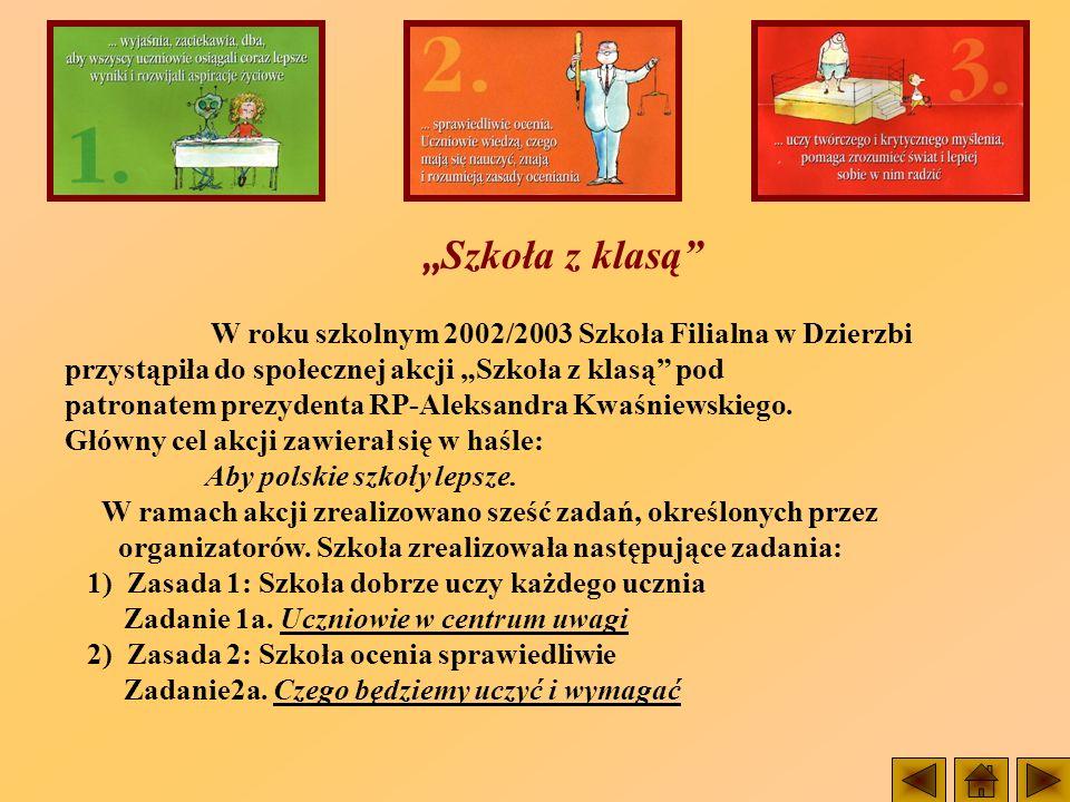 Szkoła z klasą W roku szkolnym 2002/2003 Szkoła Filialna w Dzierzbi przystąpiła do społecznej akcji Szkoła z klasą pod patronatem prezydenta RP-Aleksa