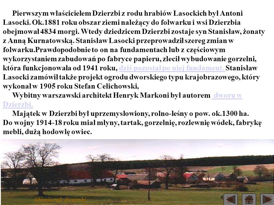 Pierwszym właścicielem Dzierzbi z rodu hrabiów Lasockich był Antoni Lasocki. Ok.1881 roku obszar ziemi należący do folwarku i wsi Dzierzbia obejmował