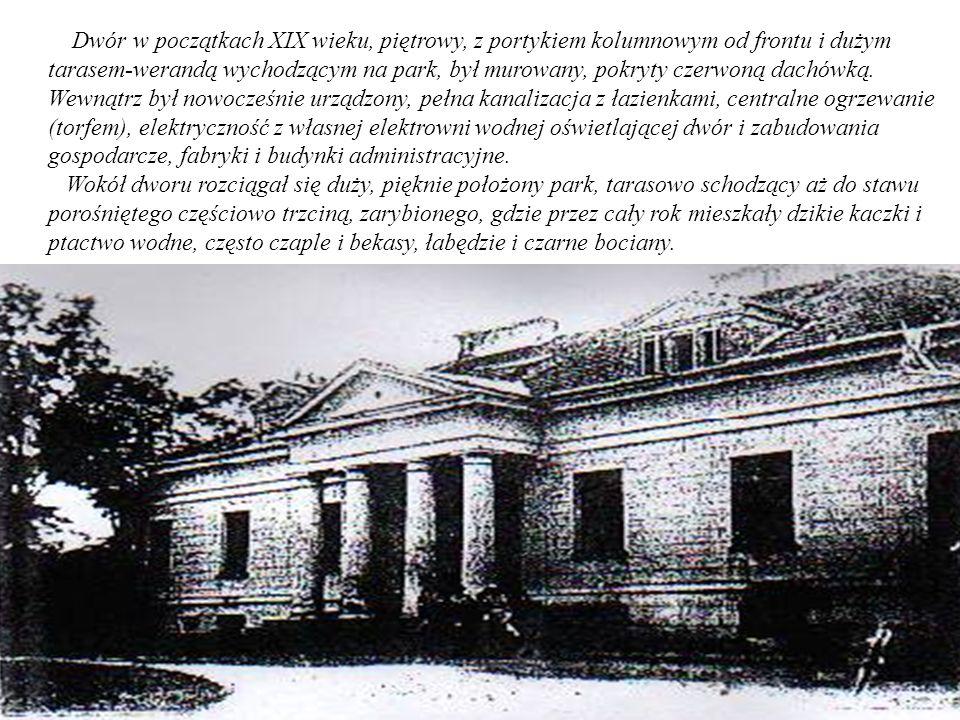 Dwór w początkach XIX wieku, piętrowy, z portykiem kolumnowym od frontu i dużym tarasem-werandą wychodzącym na park, był murowany, pokryty czerwoną dachówką.