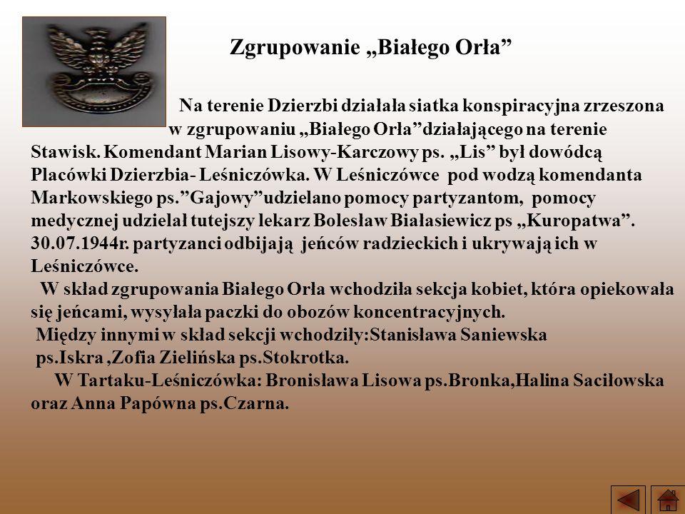 Na terenie Dzierzbi działała siatka konspiracyjna zrzeszona w zgrupowaniu Białego Orładziałającego na terenie Stawisk. Komendant Marian Lisowy-Karczow