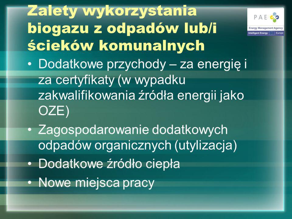 Zalety wykorzystania biogazu z odpadów lub/i ścieków komunalnych Dodatkowe przychody – za energię i za certyfikaty (w wypadku zakwalifikowania źródła energii jako OZE) Zagospodarowanie dodatkowych odpadów organicznych (utylizacja) Dodatkowe źródło ciepła Nowe miejsca pracy