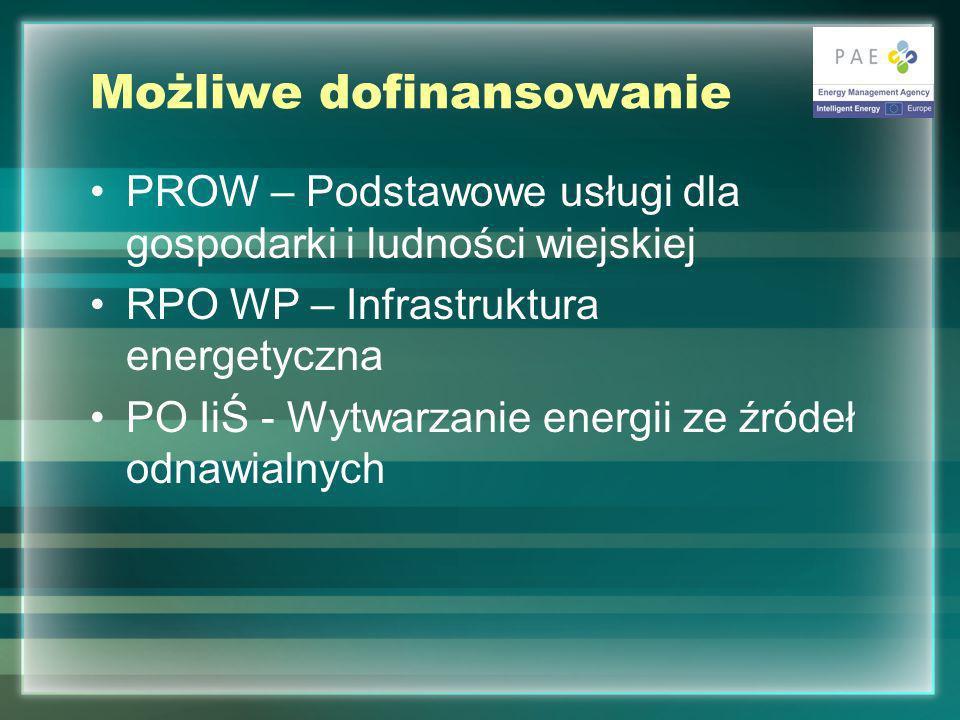 Możliwe dofinansowanie PROW – Podstawowe usługi dla gospodarki i ludności wiejskiej RPO WP – Infrastruktura energetyczna PO IiŚ - Wytwarzanie energii ze źródeł odnawialnych