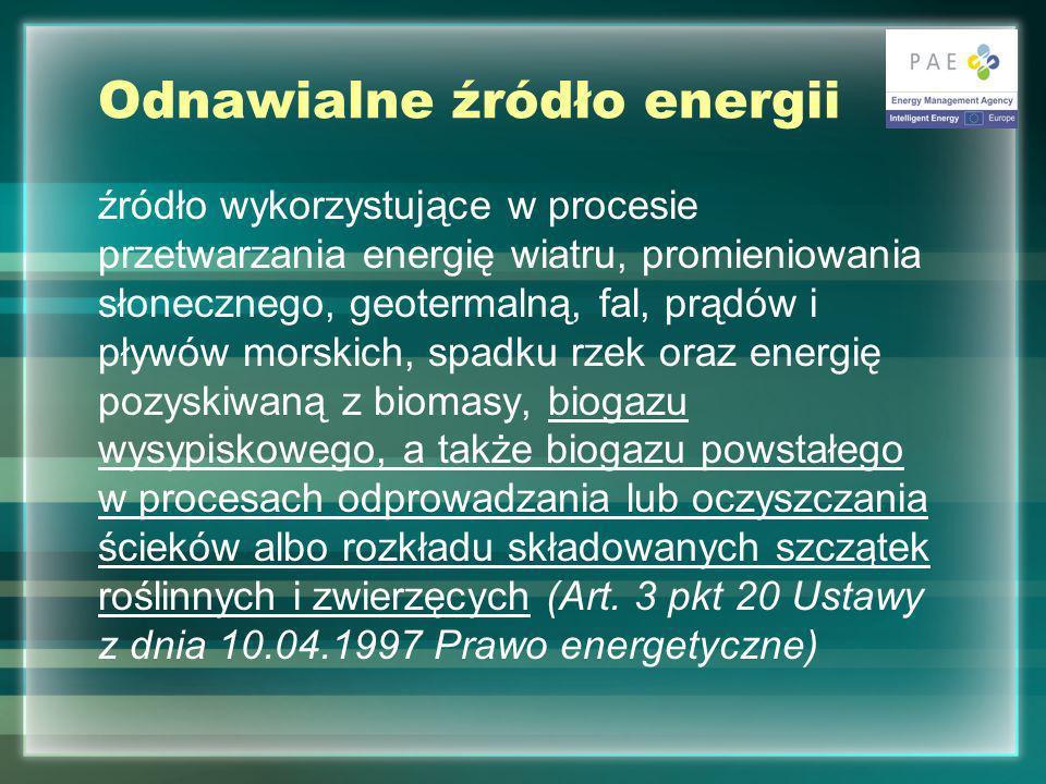 Odnawialne źródło energii źródło wykorzystujące w procesie przetwarzania energię wiatru, promieniowania słonecznego, geotermalną, fal, prądów i pływów morskich, spadku rzek oraz energię pozyskiwaną z biomasy, biogazu wysypiskowego, a także biogazu powstałego w procesach odprowadzania lub oczyszczania ścieków albo rozkładu składowanych szczątek roślinnych i zwierzęcych (Art.