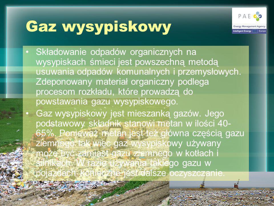 Gaz wysypiskowy Składowanie odpadów organicznych na wysypiskach śmieci jest powszechną metodą usuwania odpadów komunalnych i przemysłowych.