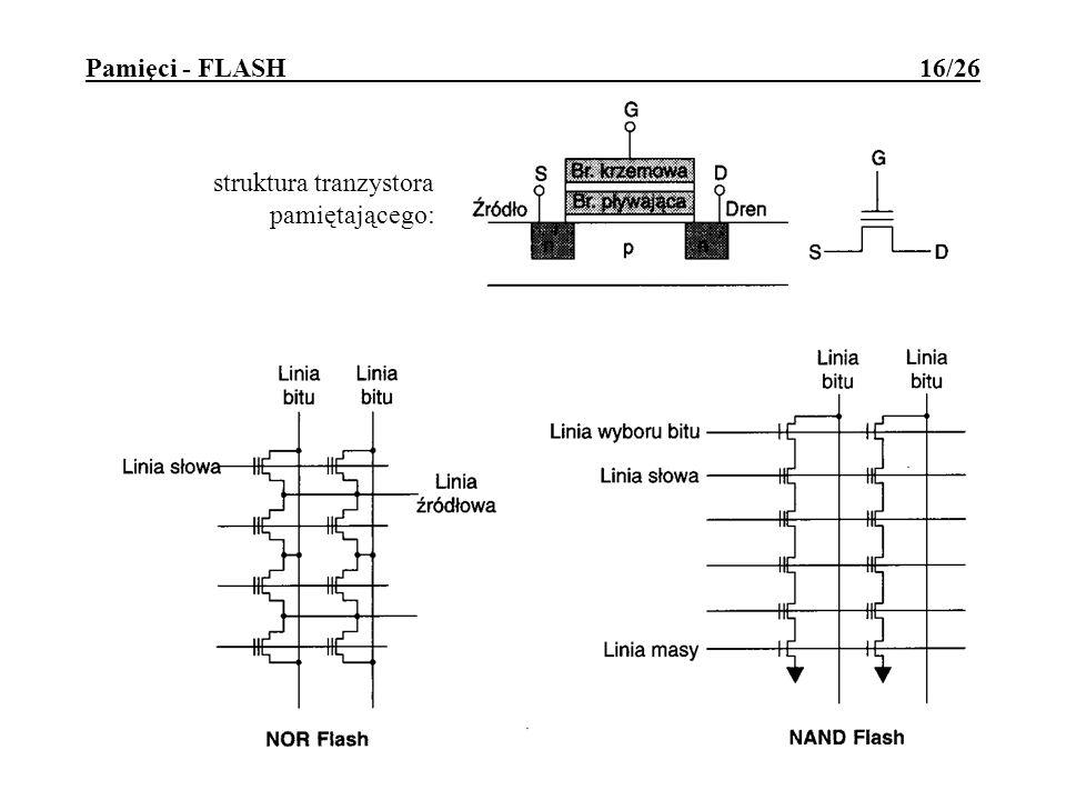 Pamięci - FLASH 16/26 struktura tranzystora pamiętającego: