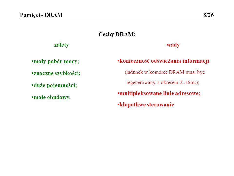 Pamięci - DRAM 8/26 Cechy DRAM: zalety wady mały pobór mocy; znaczne szybkości; duże pojemności; małe obudowy. konieczność odświeżania informacji (ład