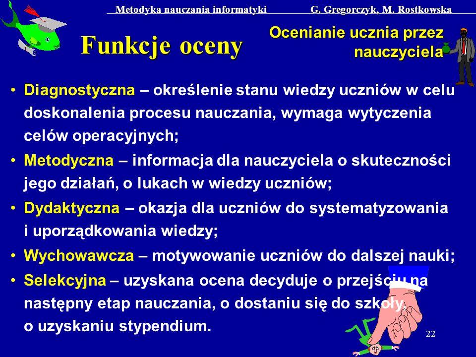 Metodyka nauczania informatyki G. Gregorczyk, M. Rostkowska 22 Funkcje oceny Ocenianie ucznia przez nauczyciela Diagnostyczna – określenie stanu wiedz