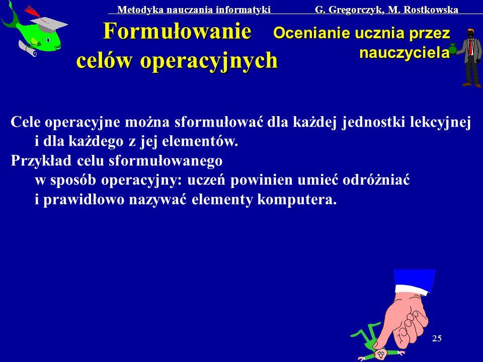 Metodyka nauczania informatyki G. Gregorczyk, M. Rostkowska 25 Formułowanie celów operacyjnych Ocenianie ucznia przez nauczyciela Cele operacyjne możn