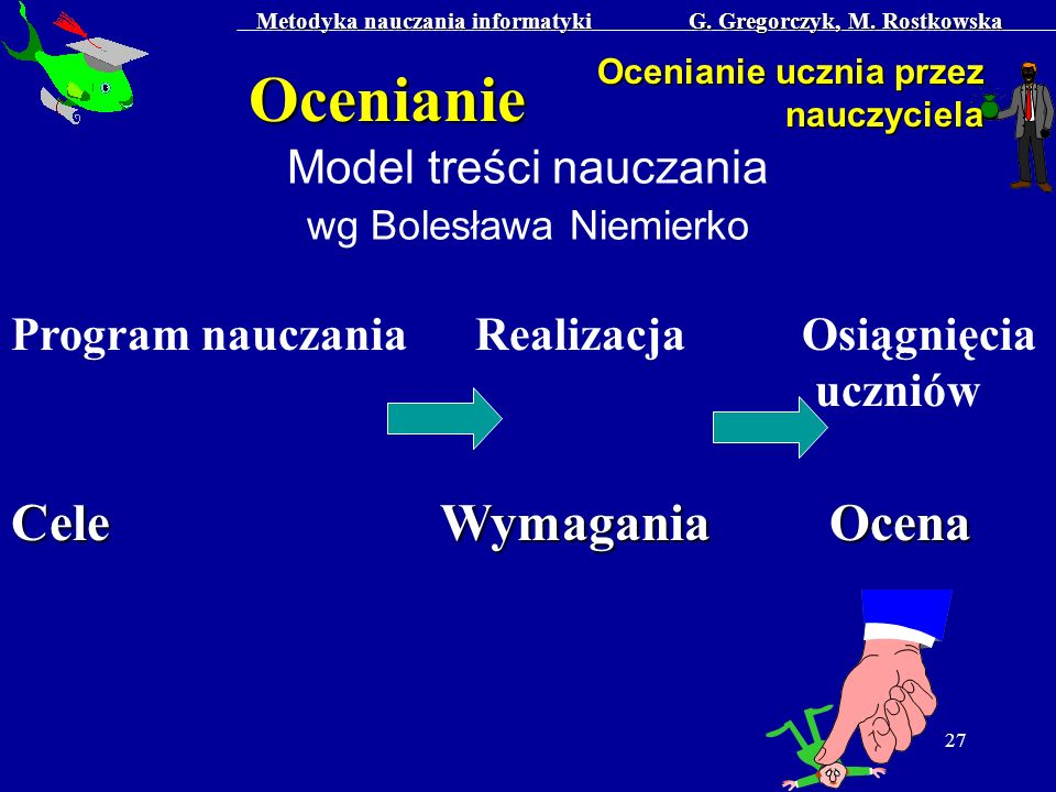 Metodyka nauczania informatyki G. Gregorczyk, M. Rostkowska 27 Ocenianie Ocenianie ucznia przez nauczyciela Model treści nauczania wg Bolesława Niemie