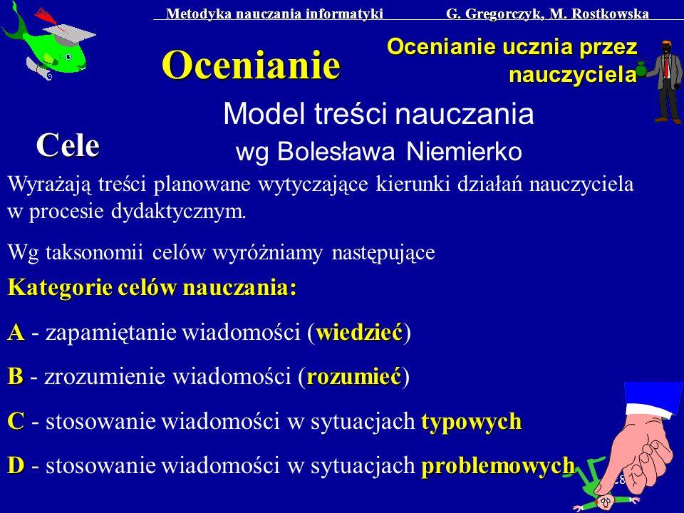 Metodyka nauczania informatyki G. Gregorczyk, M. Rostkowska 28 Ocenianie Ocenianie ucznia przez nauczyciela Model treści nauczania wg Bolesława Niemie