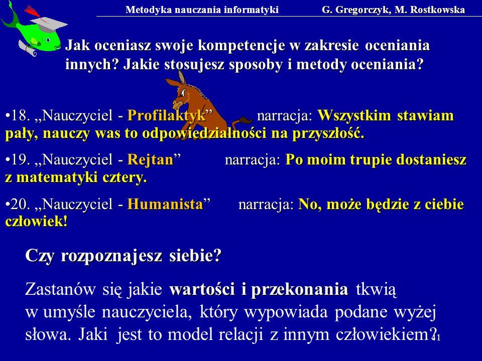 Metodyka nauczania informatykiG. Gregorczyk, M. Rostkowska 41 Jak oceniasz swoje kompetencje w zakresie oceniania innych? Jakie stosujesz sposoby i me