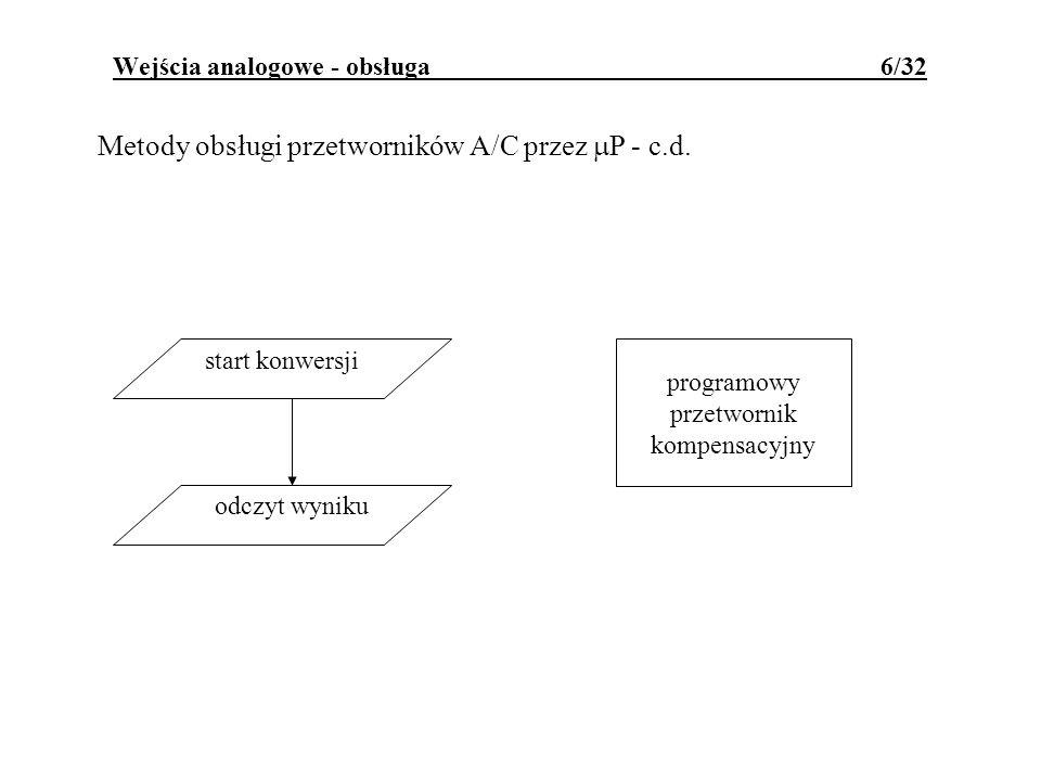 Wejścia analogowe - obsługa 6/32 Metody obsługi przetworników A/C przez P - c.d. start konwersji odczyt wyniku programowy przetwornik kompensacyjny