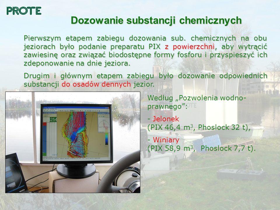 Dozowanie substancji chemicznych Pierwszym etapem zabiegu dozowania sub. chemicznych na obu jeziorach było podanie preparatu PIX z powierzchni, aby wy