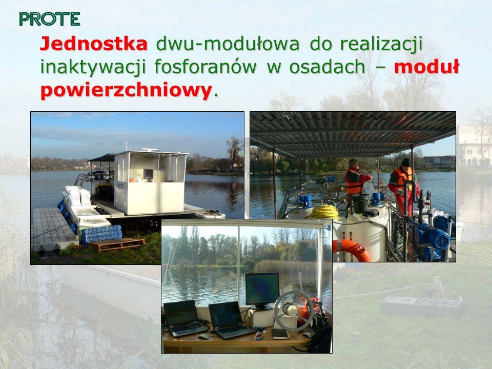 Jednostka dwu-modułowa do realizacji inaktywacji fosforanów w osadach – moduł powierzchniowy.