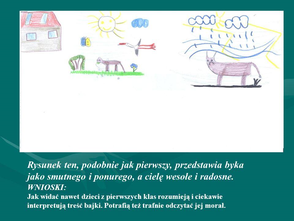Rysunek ten, podobnie jak pierwszy, przedstawia byka jako smutnego i ponurego, a cielę wesołe i radosne. WNIOSKI: Jak widać nawet dzieci z pierwszych