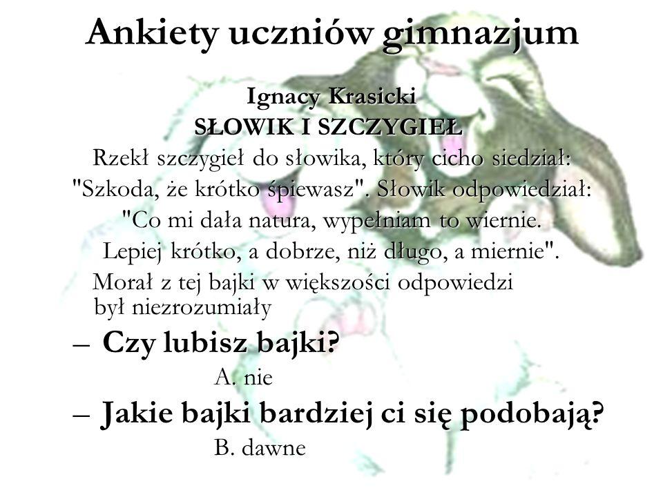 Ankiety uczniów gimnazjum Ignacy Krasicki SŁOWIK I SZCZYGIEŁ SŁOWIK I SZCZYGIEŁ Rzekł szczygieł do słowika, który cicho siedział:
