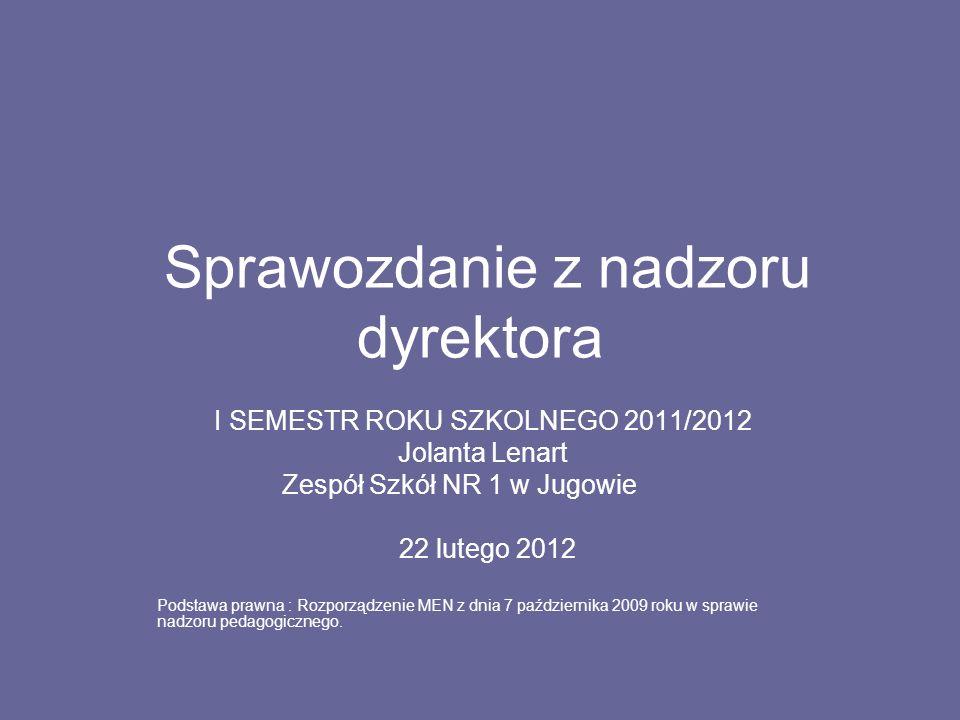 Sprawozdanie z nadzoru dyrektora I SEMESTR ROKU SZKOLNEGO 2011/2012 Jolanta Lenart Zespół Szkół NR 1 w Jugowie 22 lutego 2012 Podstawa prawna : Rozporządzenie MEN z dnia 7 października 2009 roku w sprawie nadzoru pedagogicznego.