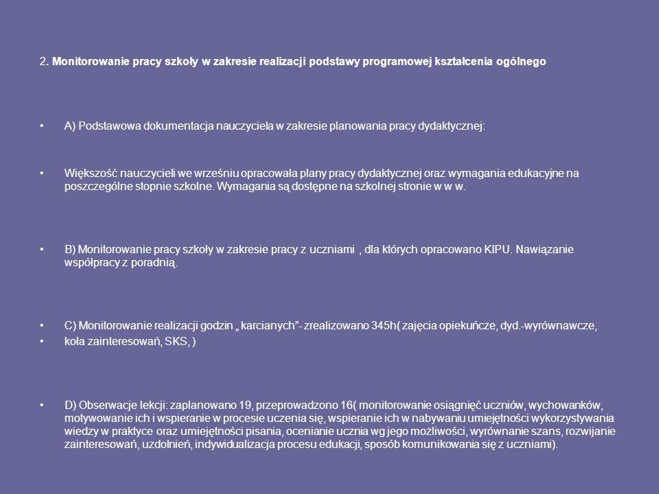 2. Monitorowanie pracy szkoły w zakresie realizacji podstawy programowej kształcenia ogólnego A) Podstawowa dokumentacja nauczyciela w zakresie planow