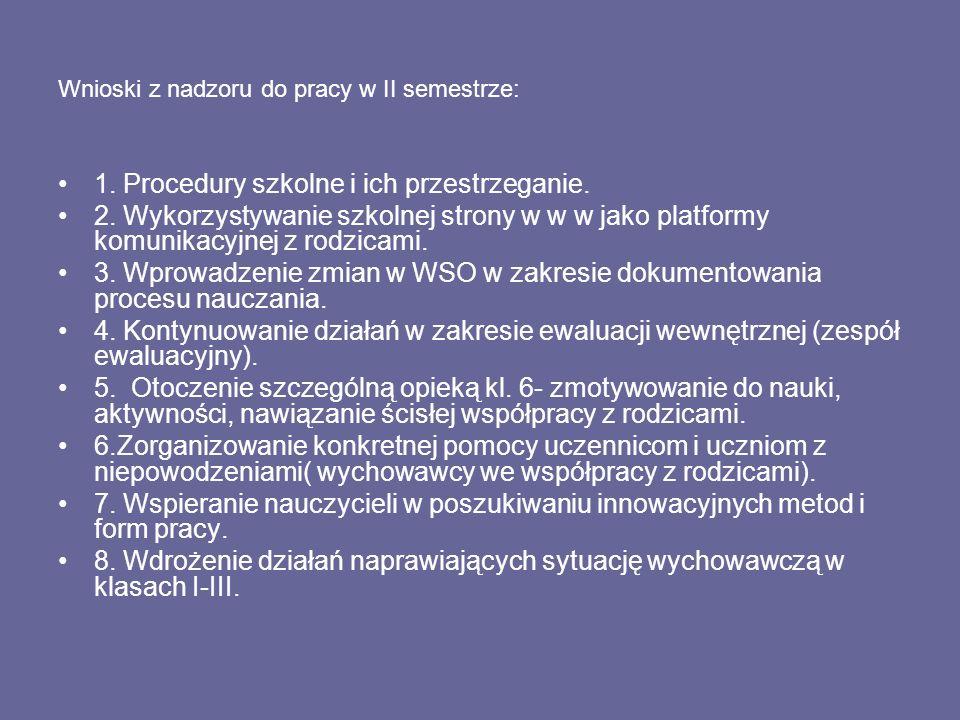 Wnioski z nadzoru do pracy w II semestrze: 1.Procedury szkolne i ich przestrzeganie.