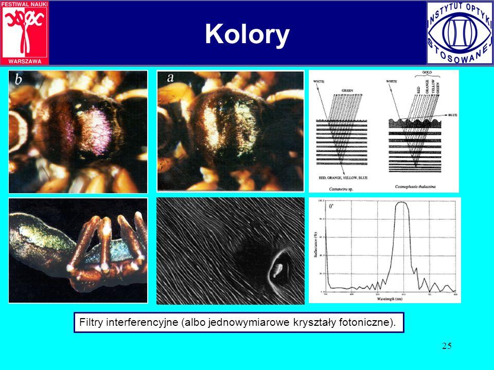 25 Kolory Filtry interferencyjne (albo jednowymiarowe kryształy fotoniczne). Kolory