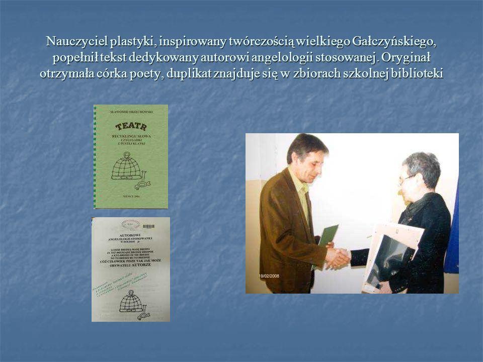 Nauczyciel plastyki, inspirowany twórczością wielkiego Gałczyńskiego, popełnił tekst dedykowany autorowi angelologii stosowanej. Oryginał otrzymała có