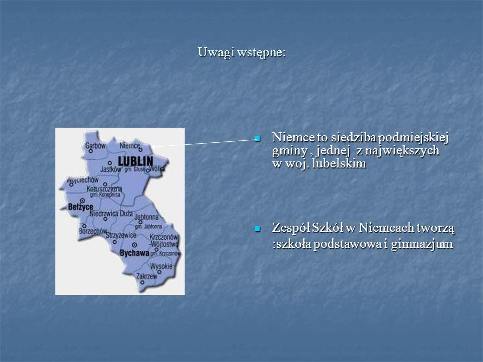Uwagi wstępne: Niemce to siedziba podmiejskiej gminy, jednej z największych w woj. lubelskim Niemce to siedziba podmiejskiej gminy, jednej z największ