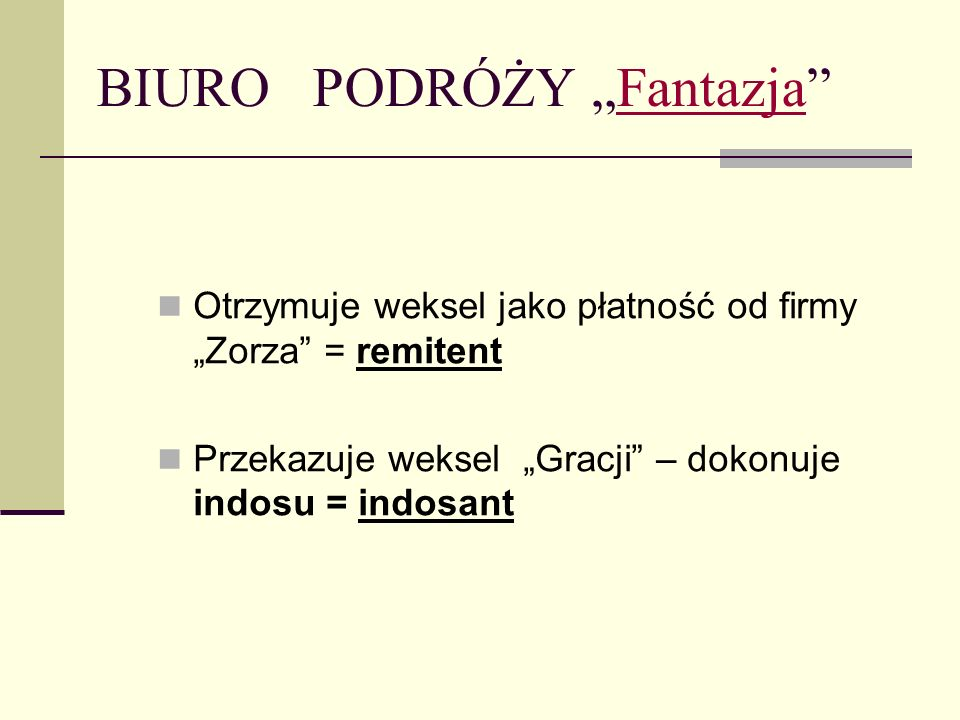 FIRMA ZORZAZORZA Wystawca weksla = trasant Główny dłużnik = trasat