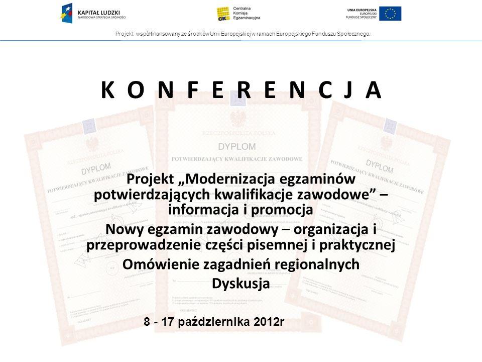 Projekt współfinansowany ze środków Unii Europejskiej w ramach Europejskiego Funduszu Społecznego. K O N F E R E N C J A Projekt Modernizacja egzaminó
