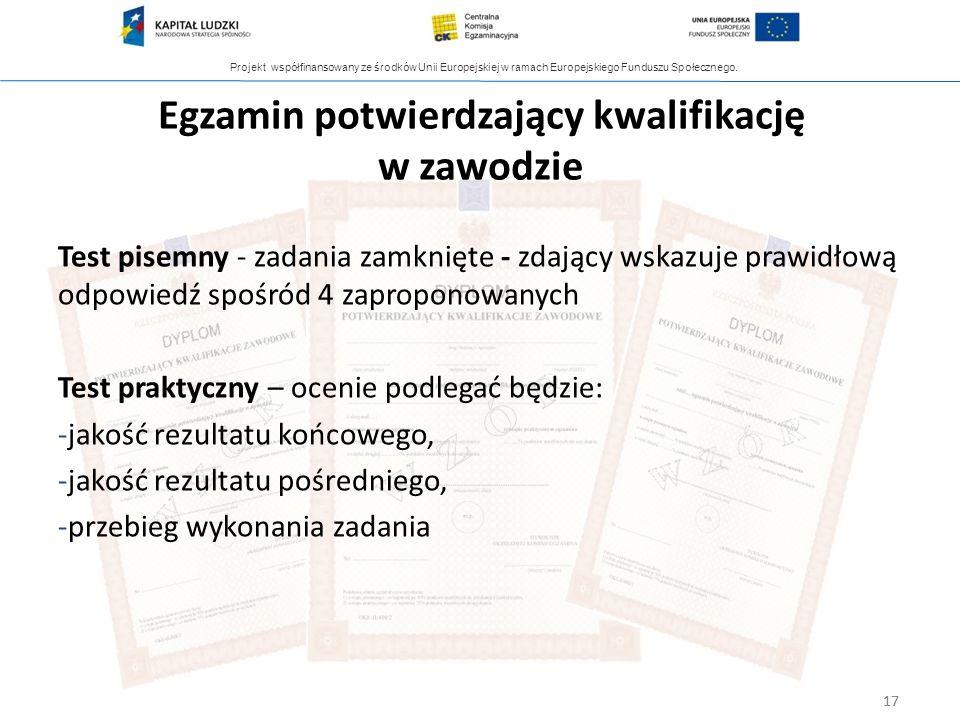 Projekt współfinansowany ze środków Unii Europejskiej w ramach Europejskiego Funduszu Społecznego. 17 Egzamin potwierdzający kwalifikację w zawodzie 1