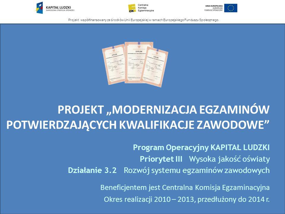 Projekt współfinansowany ze środków Unii Europejskiej w ramach Europejskiego Funduszu Społecznego. PROJEKT MODERNIZACJA EGZAMINÓW POTWIERDZAJĄCYCH KWA