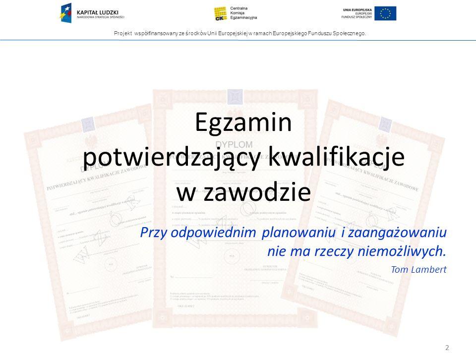 Projekt współfinansowany ze środków Unii Europejskiej w ramach Europejskiego Funduszu Społecznego. 2 Egzamin potwierdzający kwalifikacje w zawodzie 2