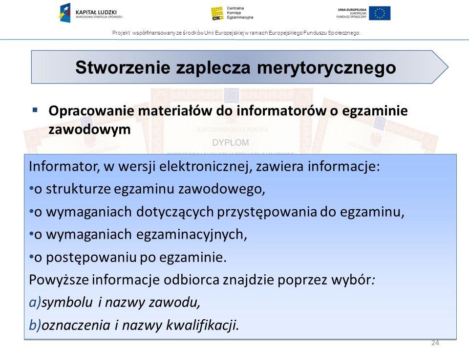 Projekt współfinansowany ze środków Unii Europejskiej w ramach Europejskiego Funduszu Społecznego. 24 Opracowanie materiałów do informatorów o egzamin