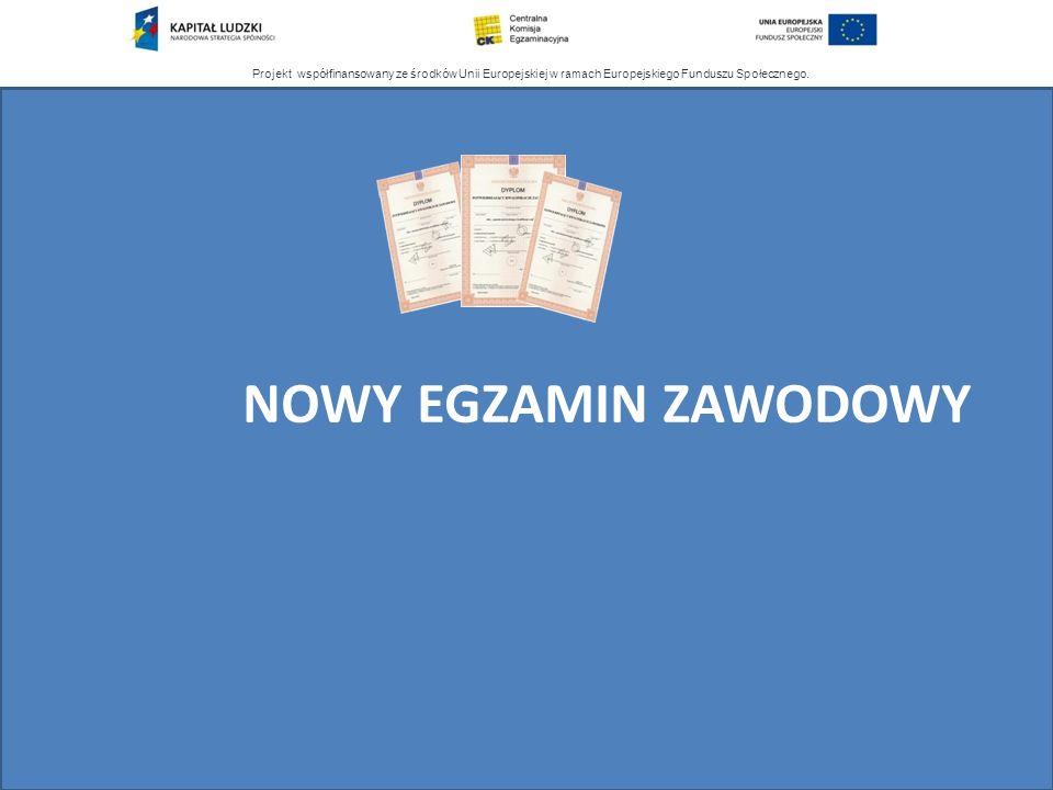 Projekt współfinansowany ze środków Unii Europejskiej w ramach Europejskiego Funduszu Społecznego. NOWY EGZAMIN ZAWODOWY
