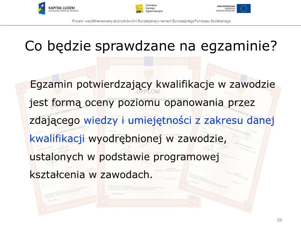 Projekt współfinansowany ze środków Unii Europejskiej w ramach Europejskiego Funduszu Społecznego. 39 Co będzie sprawdzane na egzaminie? Egzamin potwi