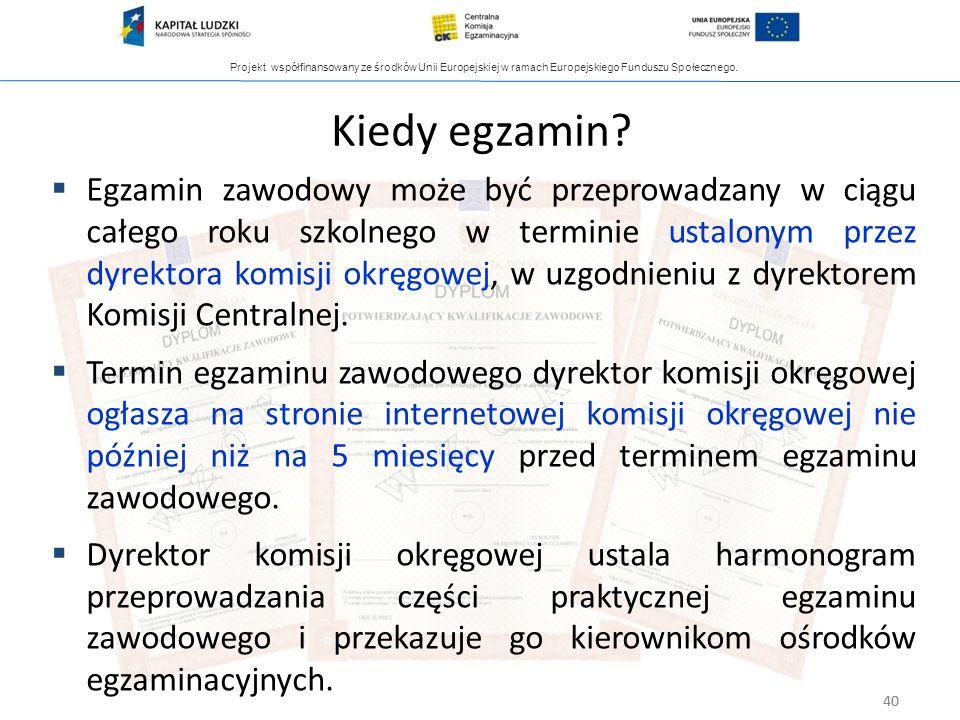 Projekt współfinansowany ze środków Unii Europejskiej w ramach Europejskiego Funduszu Społecznego. 40 Kiedy egzamin? Egzamin zawodowy może być przepro