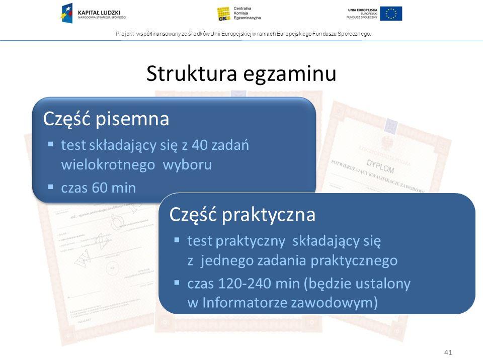 Projekt współfinansowany ze środków Unii Europejskiej w ramach Europejskiego Funduszu Społecznego. 41 Struktura egzaminu Część pisemna test składający