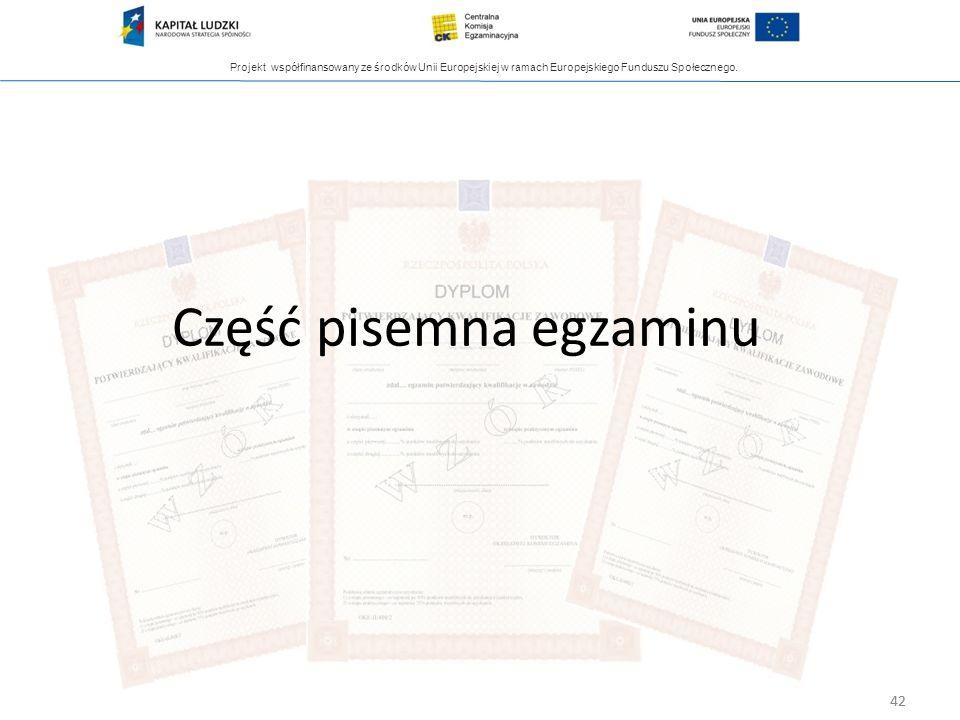 Projekt współfinansowany ze środków Unii Europejskiej w ramach Europejskiego Funduszu Społecznego. 42 Część pisemna egzaminu 42