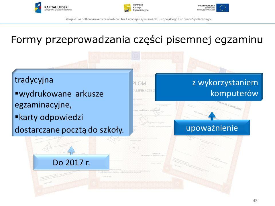 Projekt współfinansowany ze środków Unii Europejskiej w ramach Europejskiego Funduszu Społecznego. 43 Formy przeprowadzania części pisemnej egzaminu t