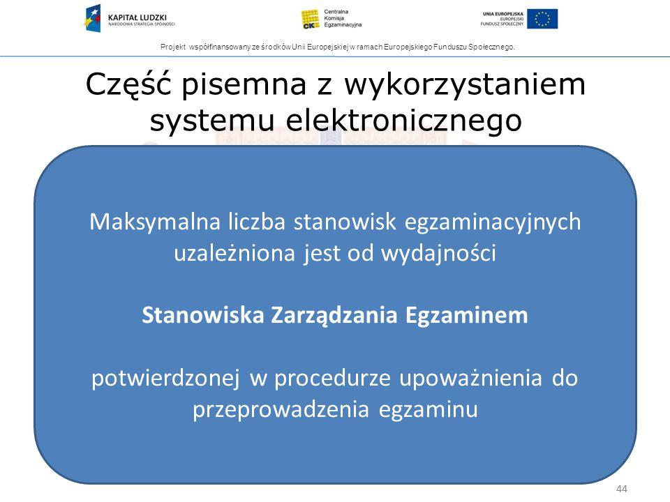 Projekt współfinansowany ze środków Unii Europejskiej w ramach Europejskiego Funduszu Społecznego. 44 Część pisemna z wykorzystaniem systemu elektroni