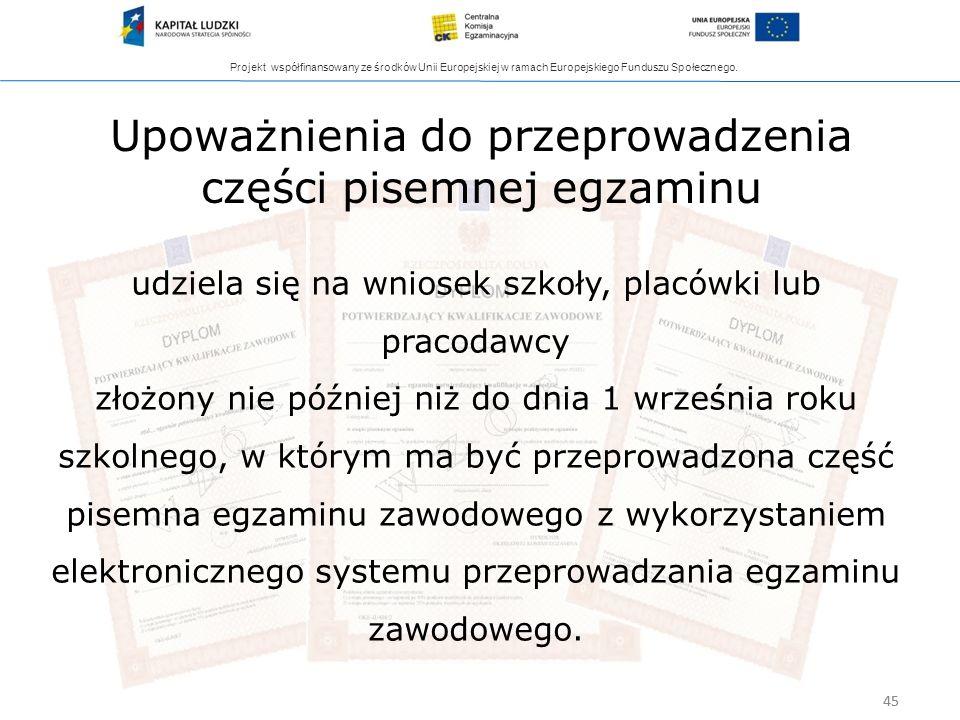 Projekt współfinansowany ze środków Unii Europejskiej w ramach Europejskiego Funduszu Społecznego. 45 Upoważnienia do przeprowadzenia części pisemnej