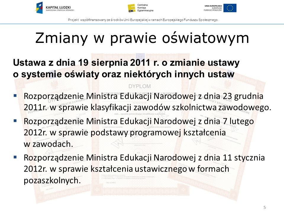 Projekt współfinansowany ze środków Unii Europejskiej w ramach Europejskiego Funduszu Społecznego. 5 Zmiany w prawie oświatowym Rozporządzenie Ministr