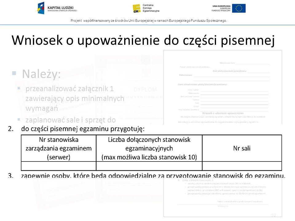 Projekt współfinansowany ze środków Unii Europejskiej w ramach Europejskiego Funduszu Społecznego. 52 Wniosek o upoważnienie do części pisemnej Należy