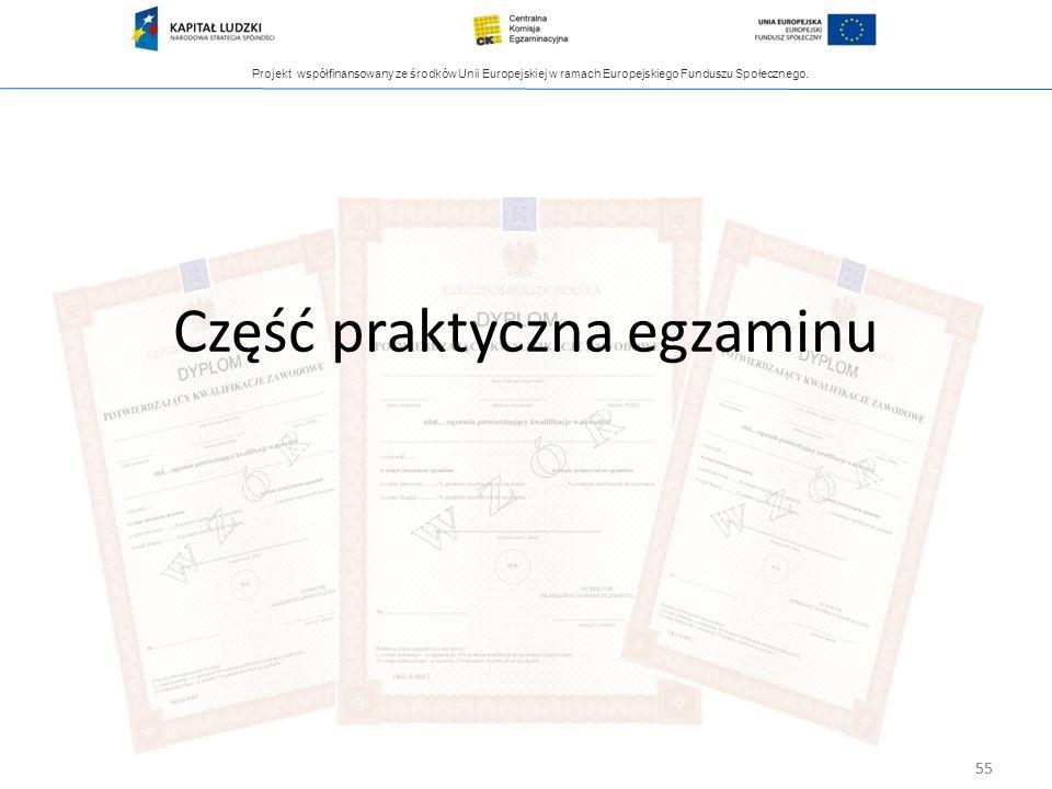 Projekt współfinansowany ze środków Unii Europejskiej w ramach Europejskiego Funduszu Społecznego. 55 Część praktyczna egzaminu 55