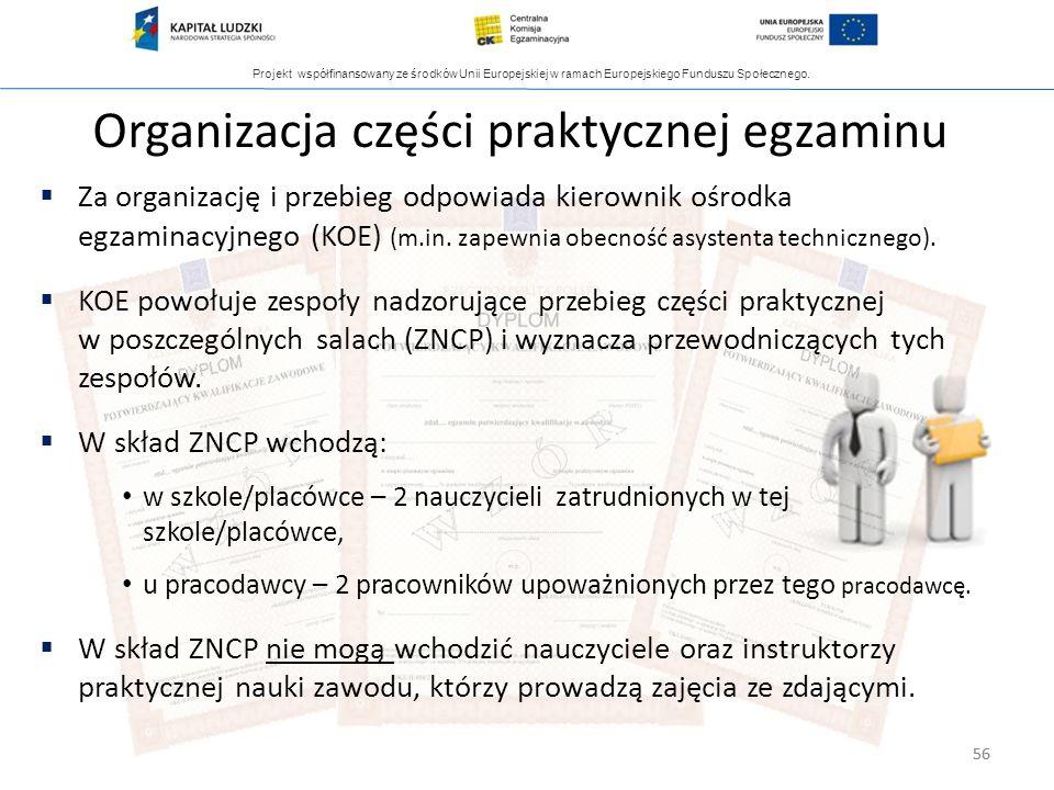 Projekt współfinansowany ze środków Unii Europejskiej w ramach Europejskiego Funduszu Społecznego. 56 Za organizację i przebieg odpowiada kierownik oś
