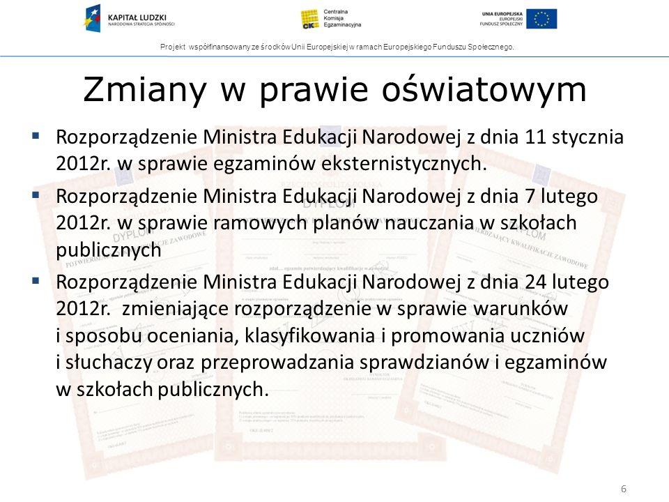 Projekt współfinansowany ze środków Unii Europejskiej w ramach Europejskiego Funduszu Społecznego. 6 Zmiany w prawie oświatowym Rozporządzenie Ministr